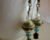 Ivory, Teal, Gold Glass Bead Dangle Earrings with Swarovski Crystals