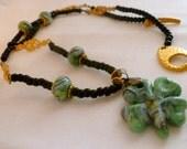 RESERVED FOR LANI - Black, Green, Gold Glass Shamrock Necklace