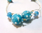 Blue and White Glass Lampwork Bead Necklace - Choker length