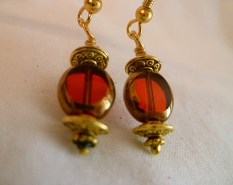 CLEARANCE - Red Czech Glass Dangle Earrings
