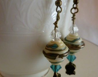 CLEARANCE - Ivory, Teal, Gold Glass Bead Dangle Earrings with Swarovski Crystals