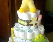 Custom Diaper Cake (Three Tier) - made to order (sugar and spice, feather her nest, etc)