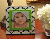 Fun Black & White Moroccan Frame..... lime green mat....4x4 distressed frame