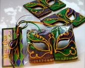 12 Mardi Gras Masks made from Bourbon-Pecan Shortbread Cookies