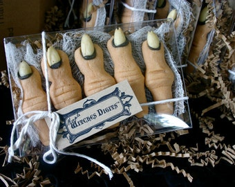 "1 Gift Box of Five Creepy Finger Cookies, Maple Flavored ""Witches Digits"""