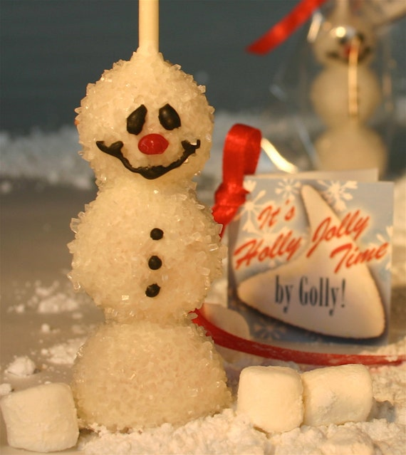Online Cake Pop Delivered Frosty the Snowman Individually Wrapped with Red Satin Ribbons and Gift Cards, Quantity 3 / Item #170358