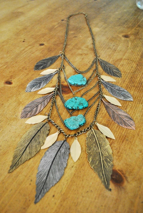 LEAF NECKLACE with turquoise.