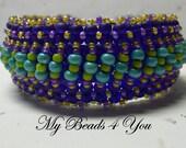 Meteor Blue - Beaded Peyote Cuff, Beaded Bracelet, Embellished Beaded Bracelet,  Seed Bead Bracelet