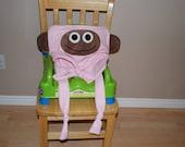 Pink Fleece Monkey Pillowcase