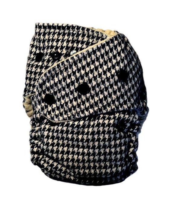 Black & white houndstooth AIO (hidden PUL) cloth diaper (one-size)