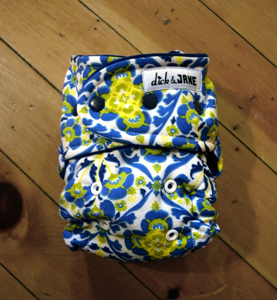 Fancy blue, yellow and white hybrid cloth diaper (one size)