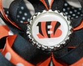 Small Cincinnati Bengals hair bow