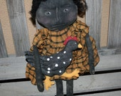 Primitive Grungy Black Doll with her Chicken PRIM