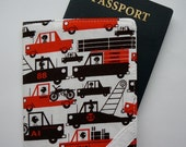 Fabric Passport Cover, Passport Holder, Red Black and White Cars Trucks for Boys Transportation