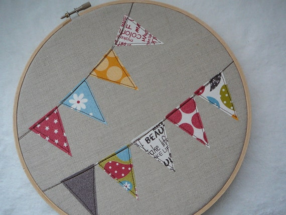 """Embroidery Hoop Linen Bunting Banner with Flags in Make Life Fabric from Sweetwater 9"""""""