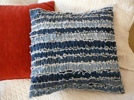 """Denim Ruffles Pillow Cover, Upcycled Jeans, 16"""" square"""