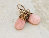Pink Earrings, Pastel, Jade, Wire wrapped, Natural brass Jewelry, Valentines day