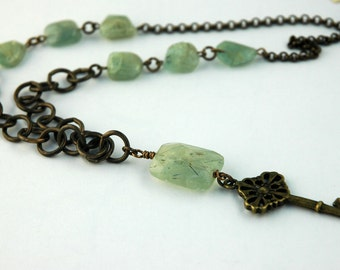 Gossamer Garnet Necklace, Pastel Green, Sea Green, Natural Brass, Skeleton Key, Jewelry