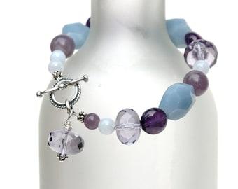 Gemstone Bracelet, Amethyst, Blue Lace Agate, Purple, Semiprecious stones, OOAK bracelet, Sterling silver, Gemstone beads, Jewelry