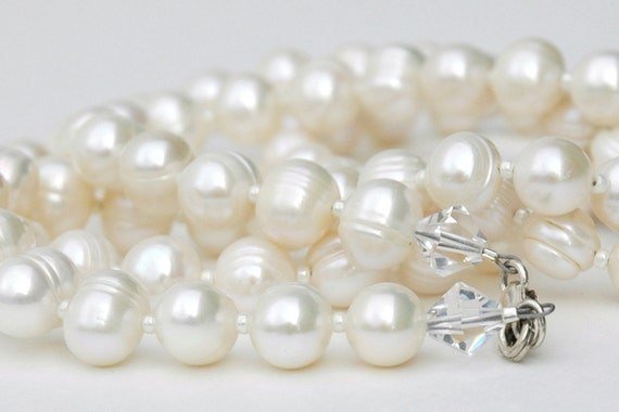 Pearl  Necklace, White Freshwater pearl, Swarovski crystals, Sterling Silver Jewelry, June birthday