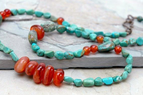 Genuine Green Turquoise, Carnelian Necklace, Orange, Semiprecious, Natural brass, Jewelry