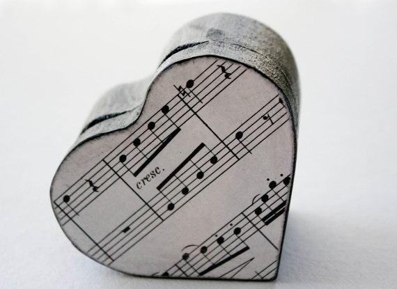 Hearts and Music  Decoupaged Wooden Box - Black, white, & silver