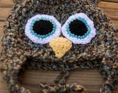 Brown, Teal and Tan Fuzzy Baby Owl Hat with Earflaps -  Newborn to Baby