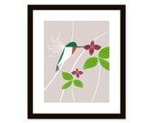 Modern art print - humming bird and flowers - 8 x 10 print