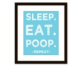 Sleep Eat Poop poster - funny kid print - typographic art print, nursery art print, baby room decor