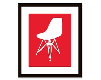 Mid century modern print-Miller Eames shell chair-8x10 poster