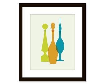 Mid century modern print - Blenko glass vases - 8x10 poster- retro vintage vases