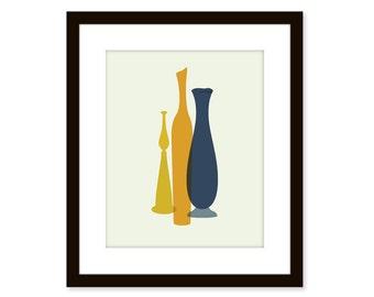 Mid century modern print - Blenko glass vases - poster