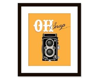 Oh snap - Retro art - vintage camera art - typographic art poster 8 x 10 - funny quote art - Typography art