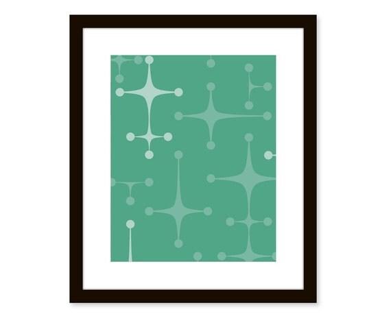Mid century modern print-abstract atomic art-8x10 poster