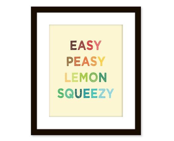 Fun quote art, poster-typography art print, Easy Peasy - College, Dorm, Bedroom, Office decor