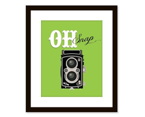 Retro art-vintage camera print - typographic art poster - fun wall quote art - oh snap - dorm decor, office art, art print