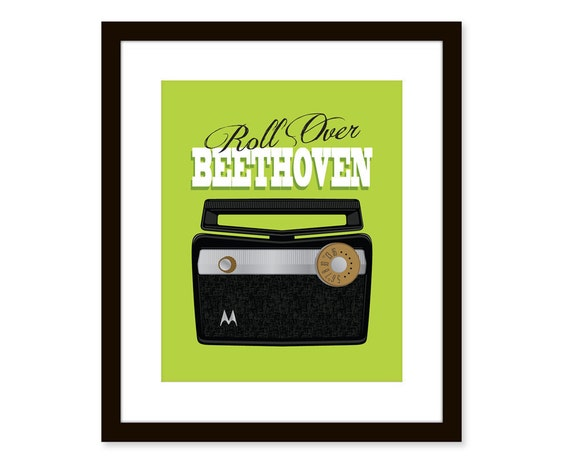 Retro art-vintage radio print-typographic art poster 8x10 - music quote art - roll over