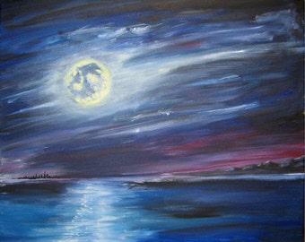 Modern Art ORIGINAL Oil Painting Canvas Purple Blue Moonlight Water 16 x 20 by Troy Tatzko