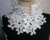 Crochet scarf. Hand made. White. Crochet scarf. Snowflakes. Original design.