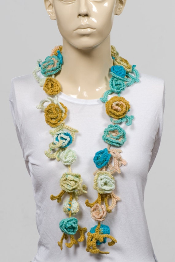 On Sale 25 CROCHET FLOWER SCARF Long scarf Hand made Blue  Crochet Scarves For Sale