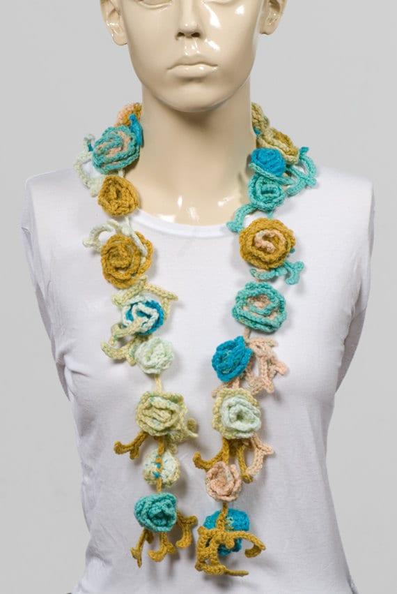 On Sale 25 CROCHET FLOWER SCARF Long scarf Hand made Blueyellow  Crochet Scarf For Sale