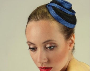 Round Fascinator Sinamay Royal Blue and Black