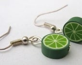 Pair Unique and Handmade Kitsch Dangle Lime Slice and Sterling Silver Earrings