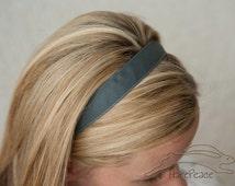 "No-Slip Headband Solid Flannel Grey Grosgrain 3/8"", 5/8"", 7/8"" or 1.5"""