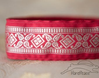"""No Slip Headband Carnival Red and Silver Wide 1.5"""""""