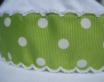 "No Slip Headband Lemongrass Green Polka Dot Wide 1.5"""