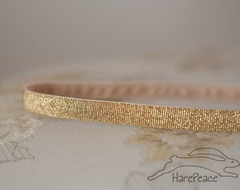 Headband No-Slip Gold Glitter Lurex 3/8""