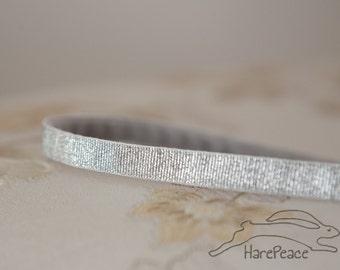 "Headband No-Slip Silver Glitter Lurex Skinny 3/8"""