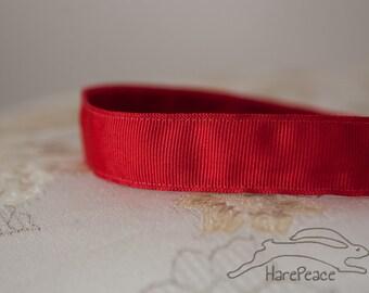 "No-Slip Headband Solid Red Grosgrain 7/8"", 5/8"" or 3/8"""