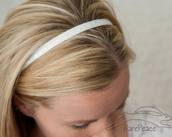 "No Slip Glitter Headband White 3/8"",  5/8"", or 1.5"""